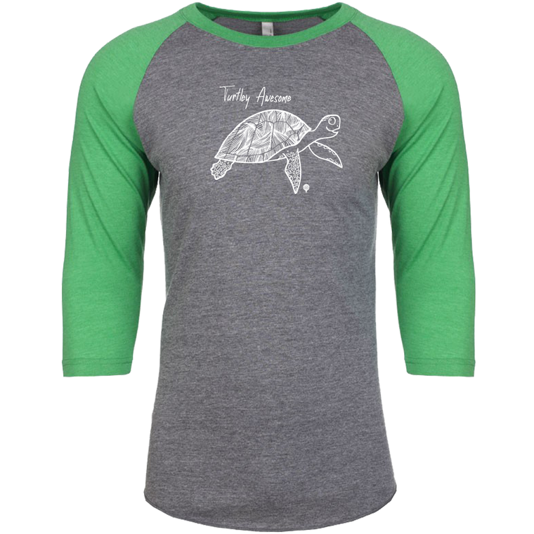 """TURTLEY AWESOME"" unisex green 3/4 sleeves/vintage gray body"