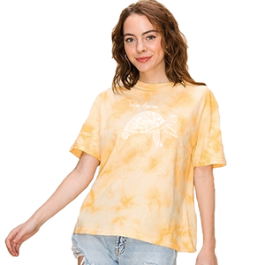 TURTLEY AWESOME | women tie dye tee | yellow