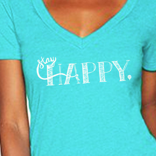"""STAY HAPPY"" vneck/tahiti blue"