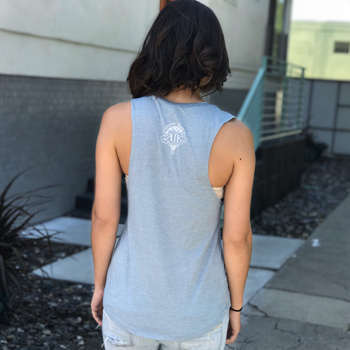 """IT'S NOT ABOUT THE DESTINATION, IT'S ABOUT THE ADVENTURE"" quote - muscle tank/stonewash denim"