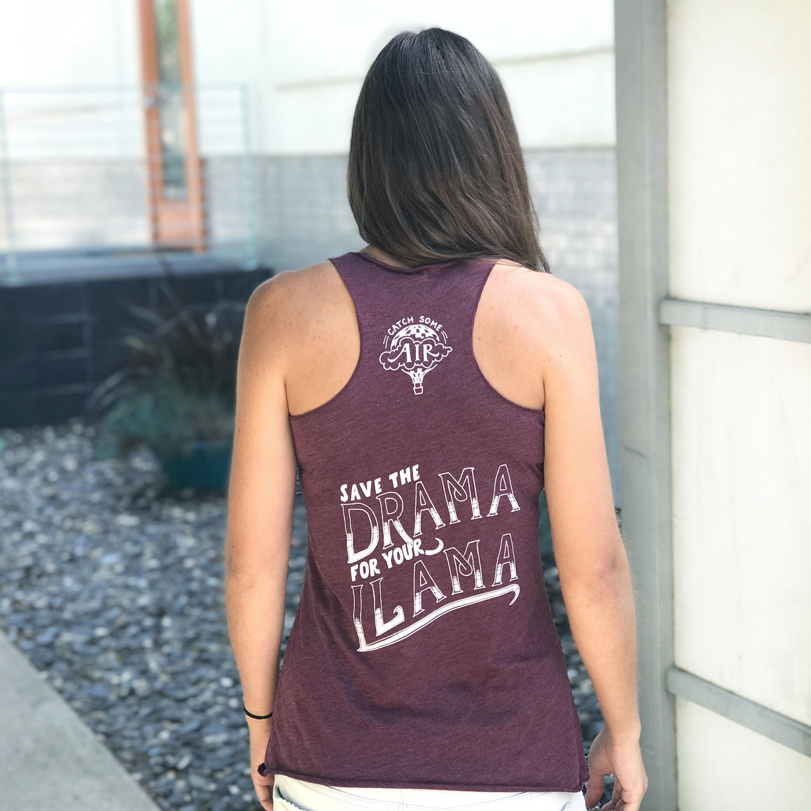"""SAVE THE DRAMA FOR YOUR LLAMA"" lightweight tank/maroon"