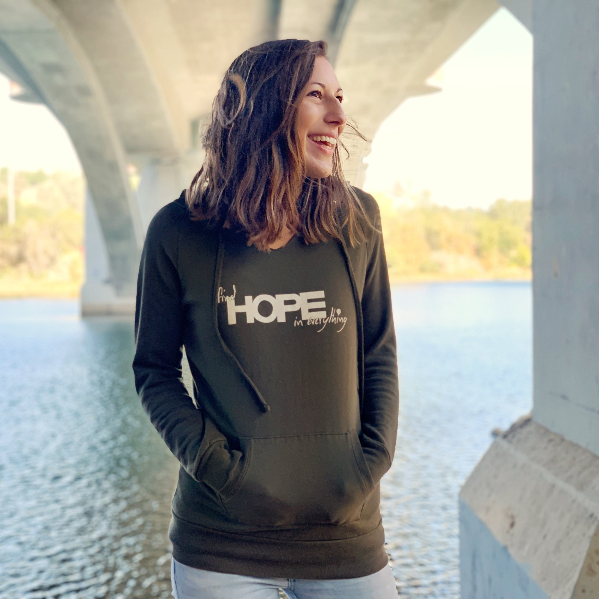 """FIND HOPE IN EVERYTHING"" long vneck hoodie/dark olive"