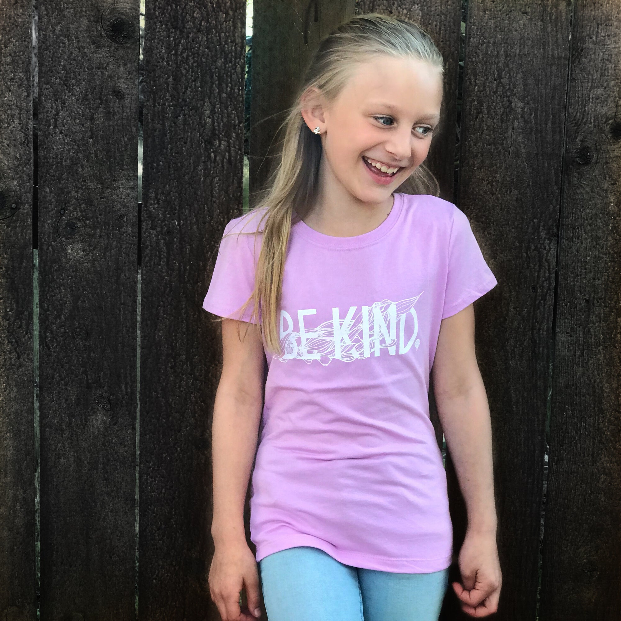 """BE KIND"" girls crew/lilac"