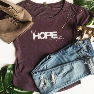 FIND HOPE in EVERYTHING | women scoop tee | purple