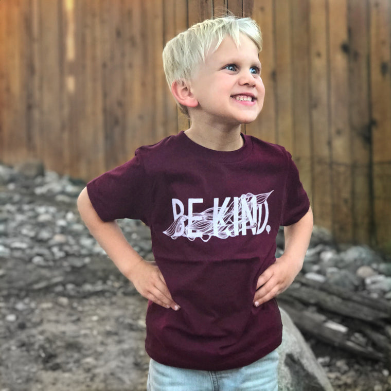 """BE KIND"" boys crew/maroon"