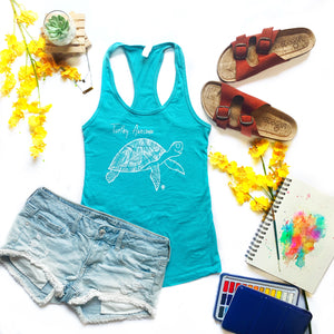 TURTLEY AWESOME | women tank | tahiti blue