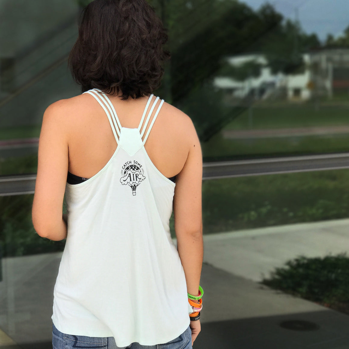 """FIND HOPE IN EVERYTHING"" - flowy strappy tank/light mint"