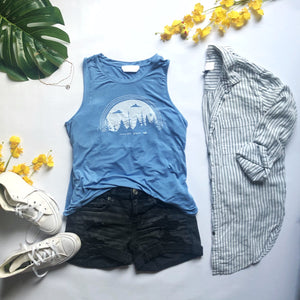 NEVER GIVE UP | women flowy tank | sky blue