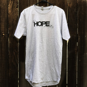 FIND HOPE in EVERYTHING | mens long body tshirt | heather gray