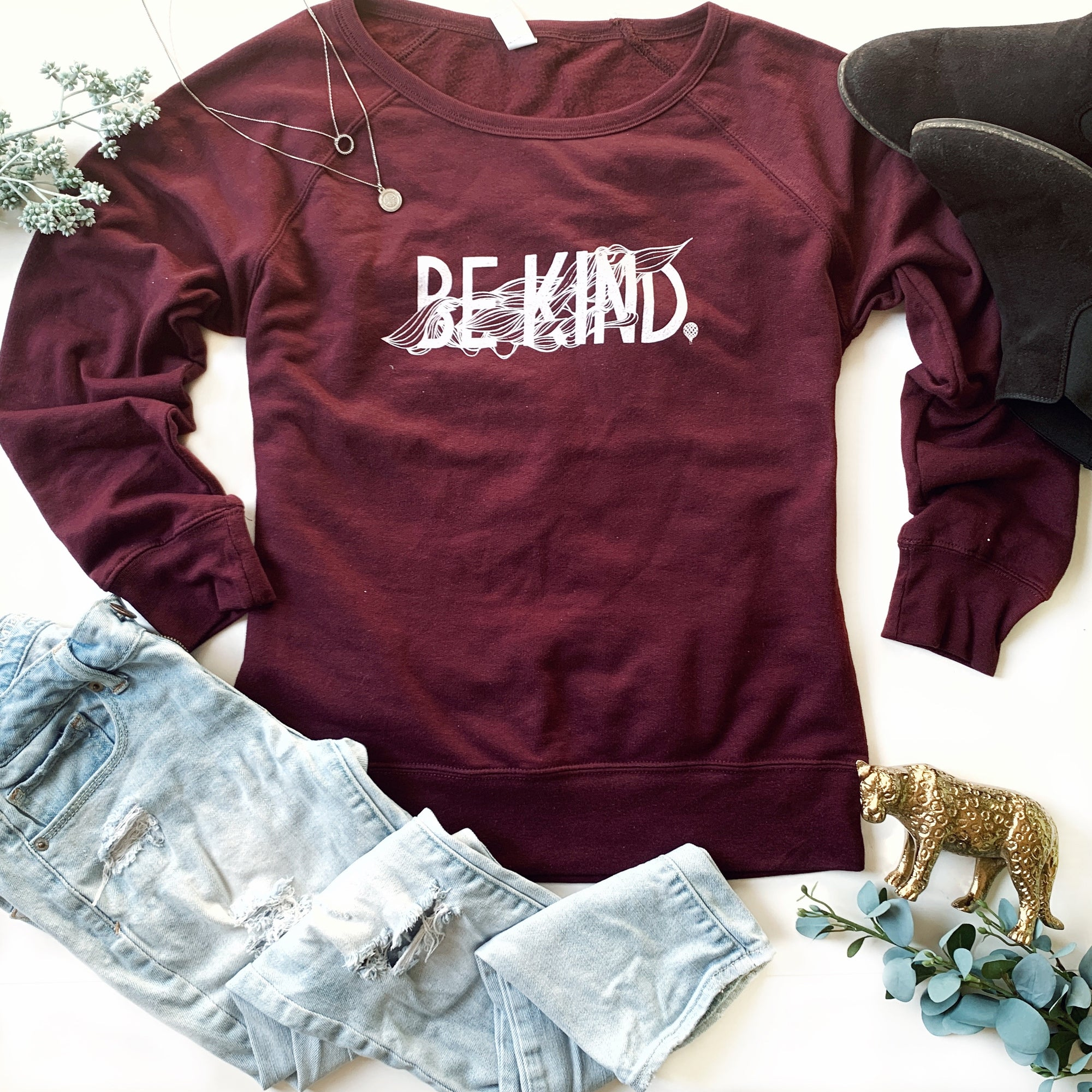BE KIND | lightweight sweatshirt | maroon
