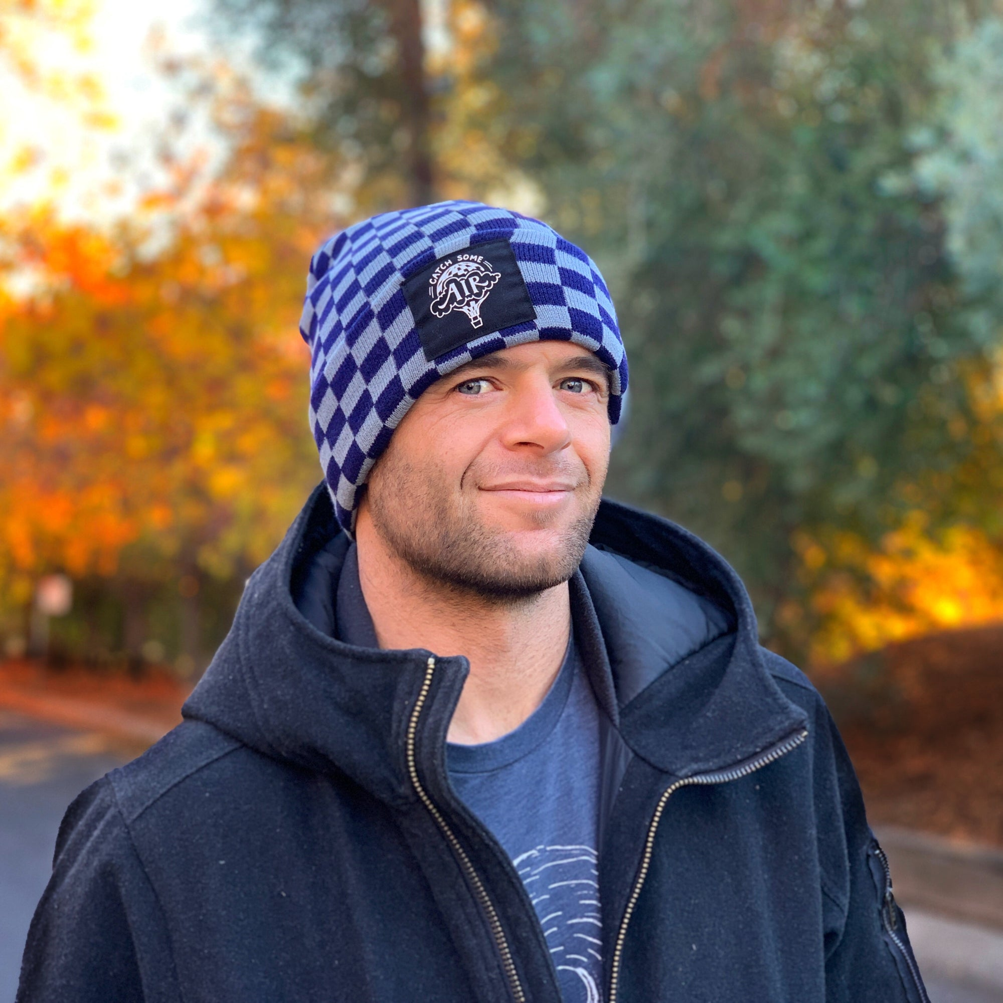 CATCH SOME AIR | beanie - cuffed | checkered navy