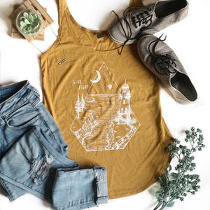 GIVE LIGHT | women tank | antique gold