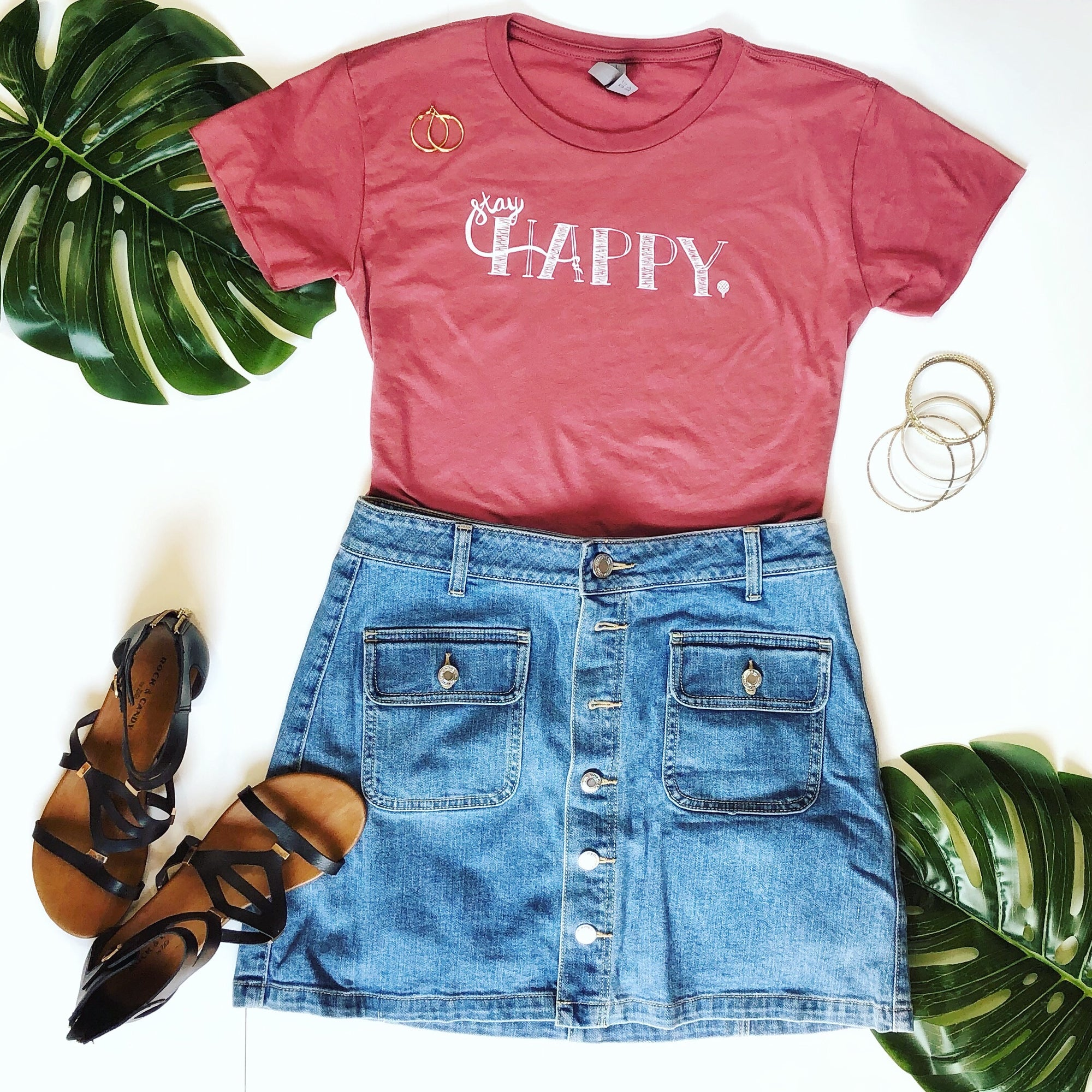 STAY HAPPY | women crop top | smoked paprika