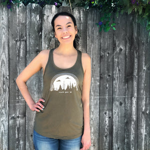 NEVER GIVE UP | women tank | military green