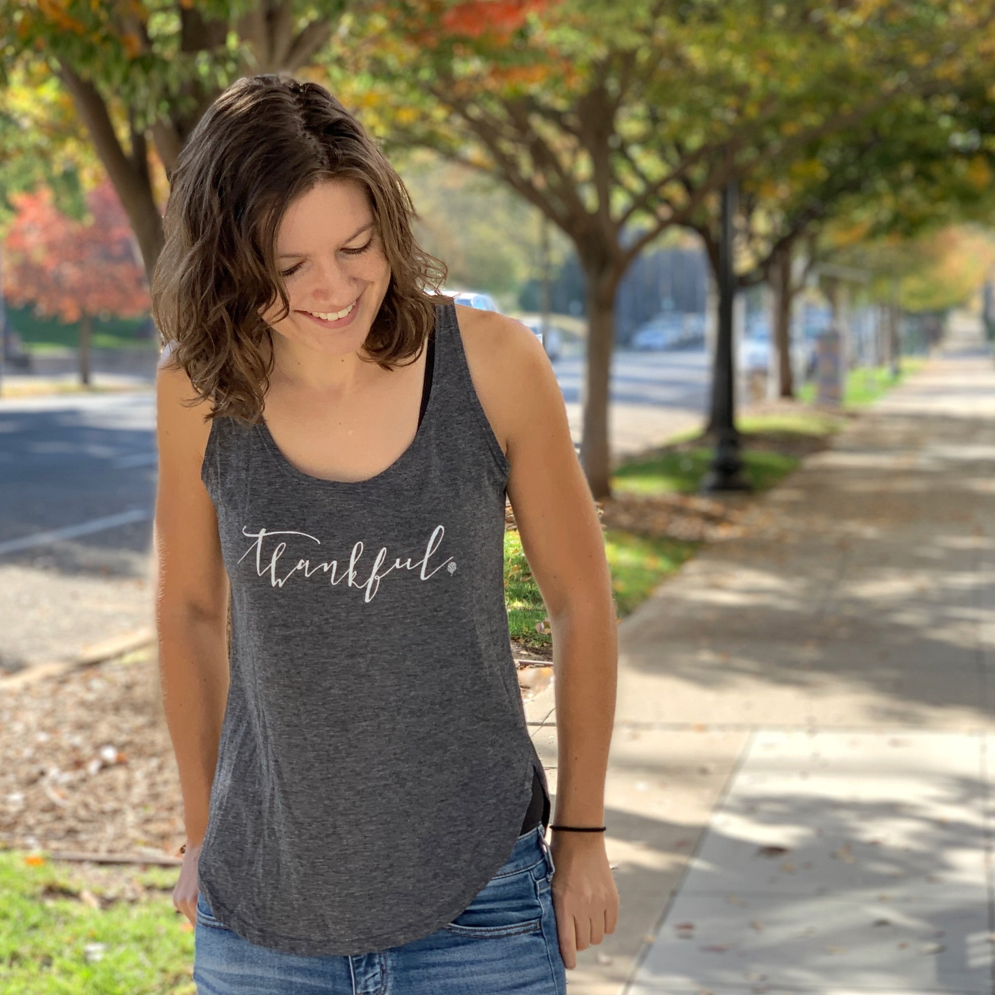 THANKFUL | women tank | charcoal