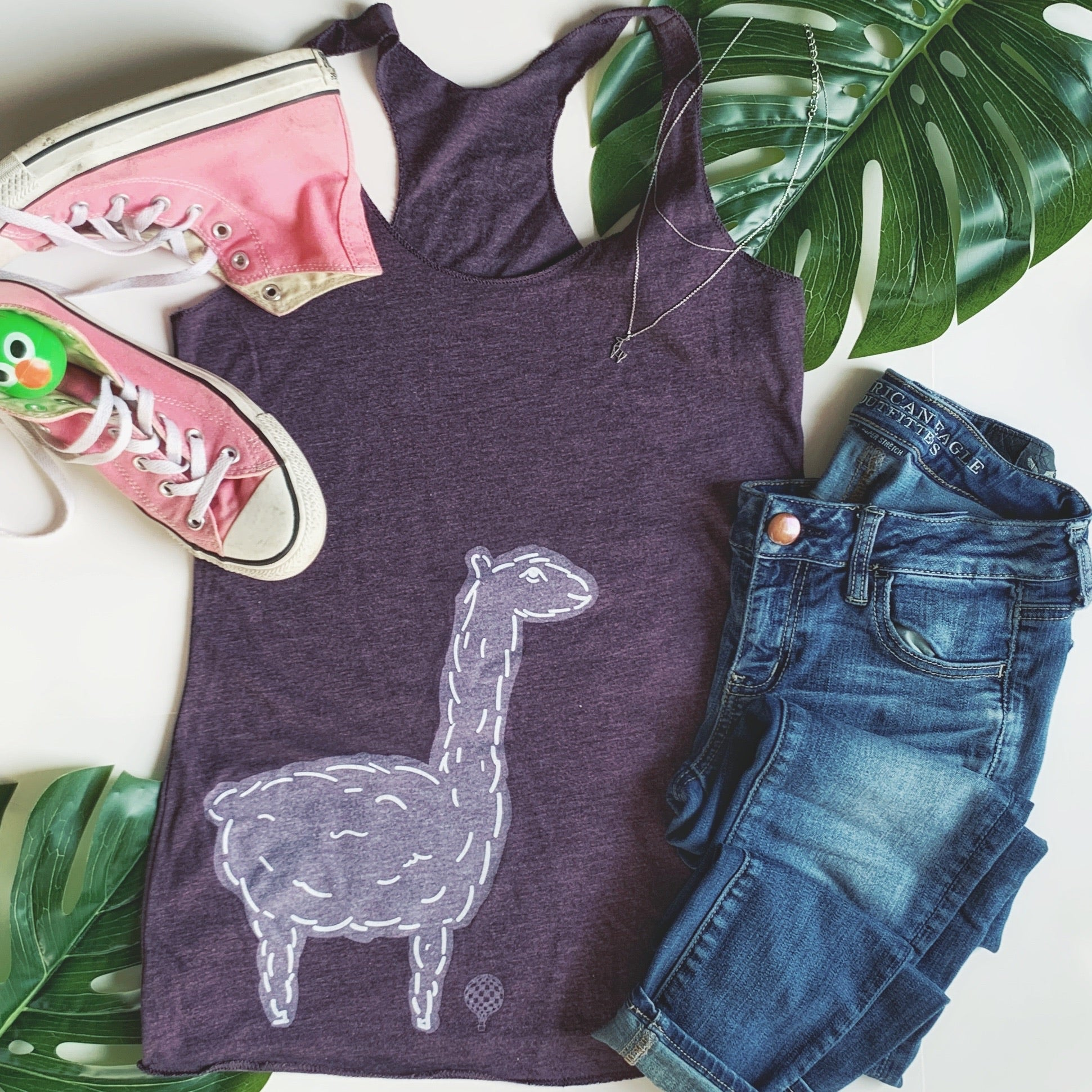 """SAVE THE DRAMA FOR YOUR LLAMA"" lightweight tank/purple"