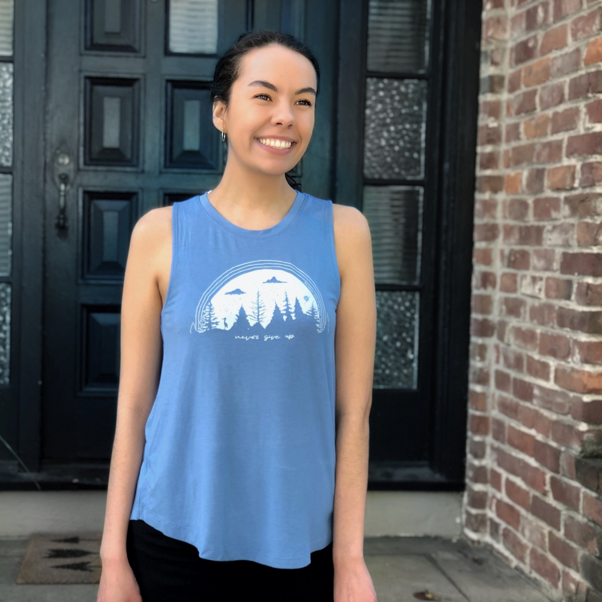 """NEVER GIVE UP"" flowy tank/sky blue"