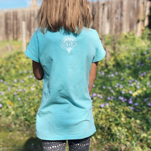 CATCH SOME AIR | girls tshirt | tahiti blue