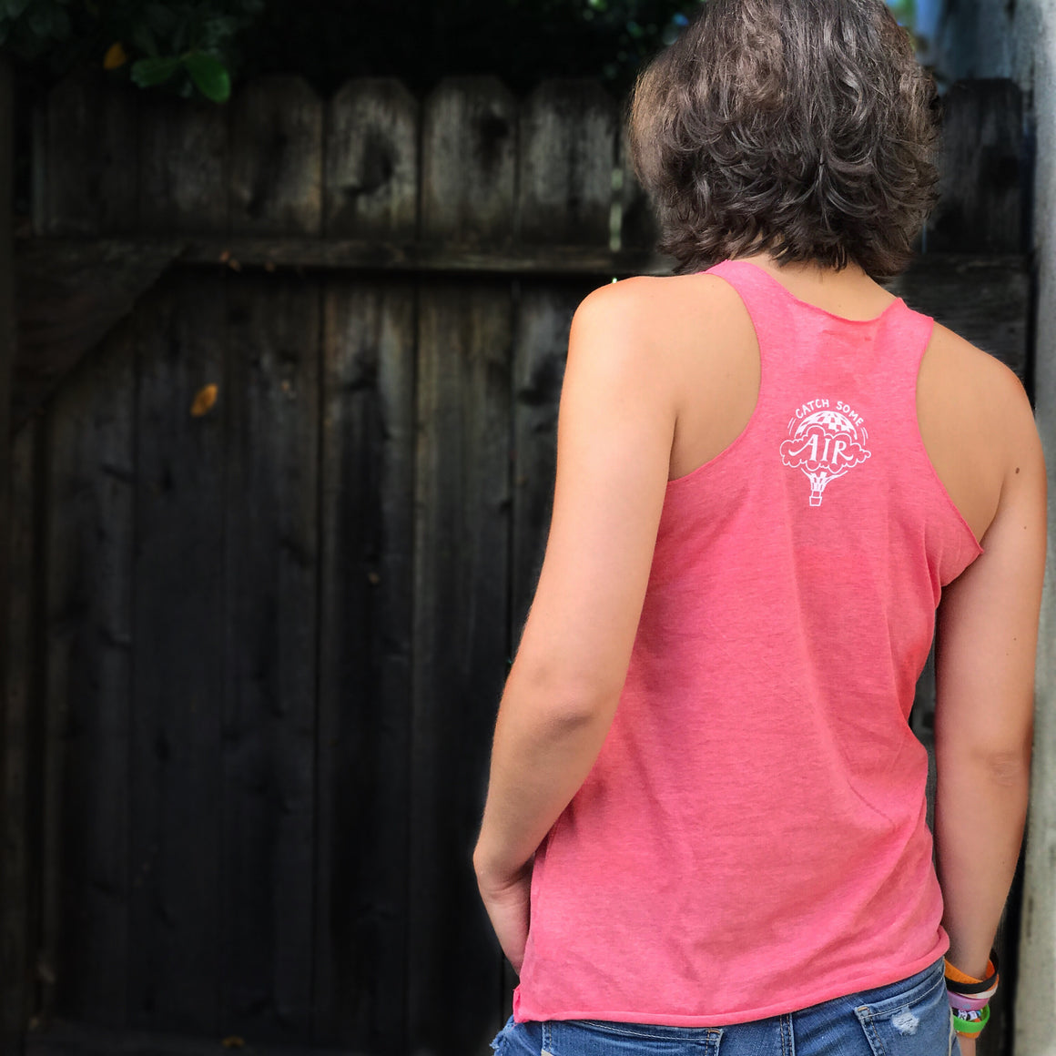 """CATCH SOME AIR"" Logo lightweight tank/light heather red"