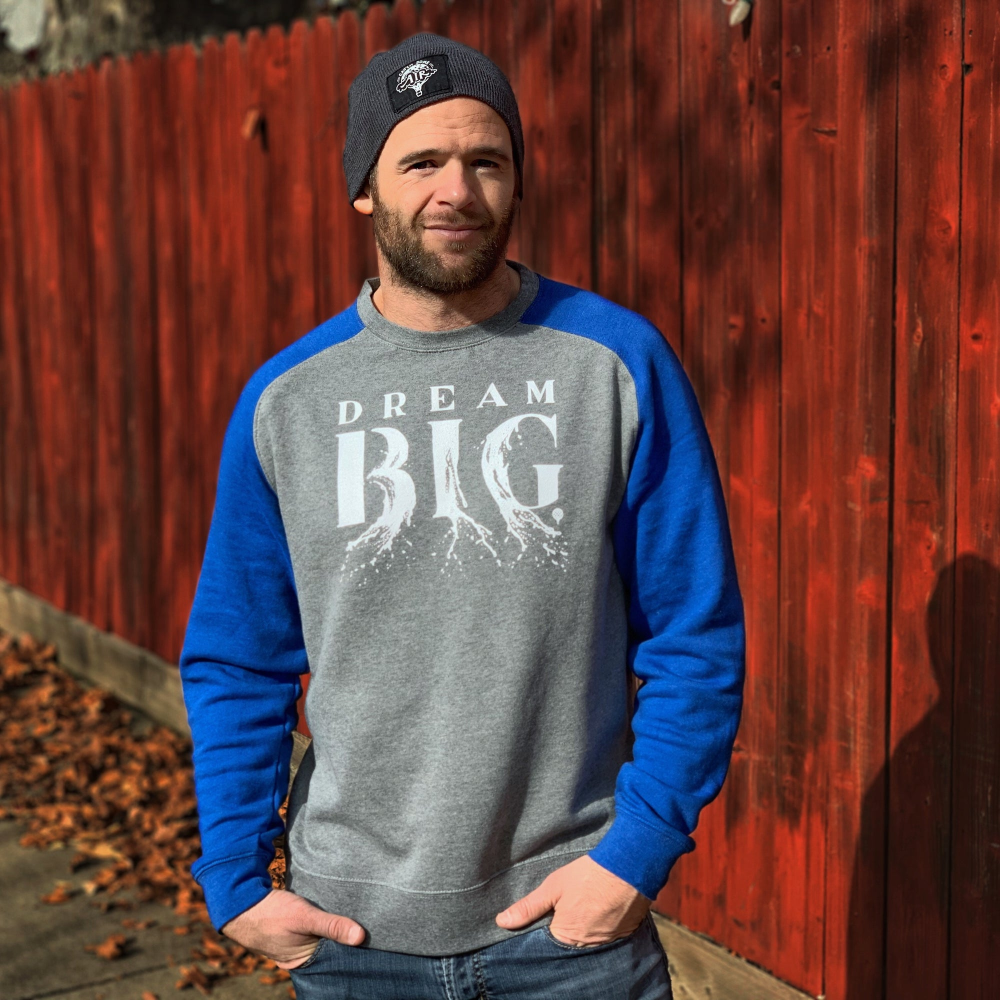DREAM BIG | unisex raglan sweatshirt | gray/royal blue