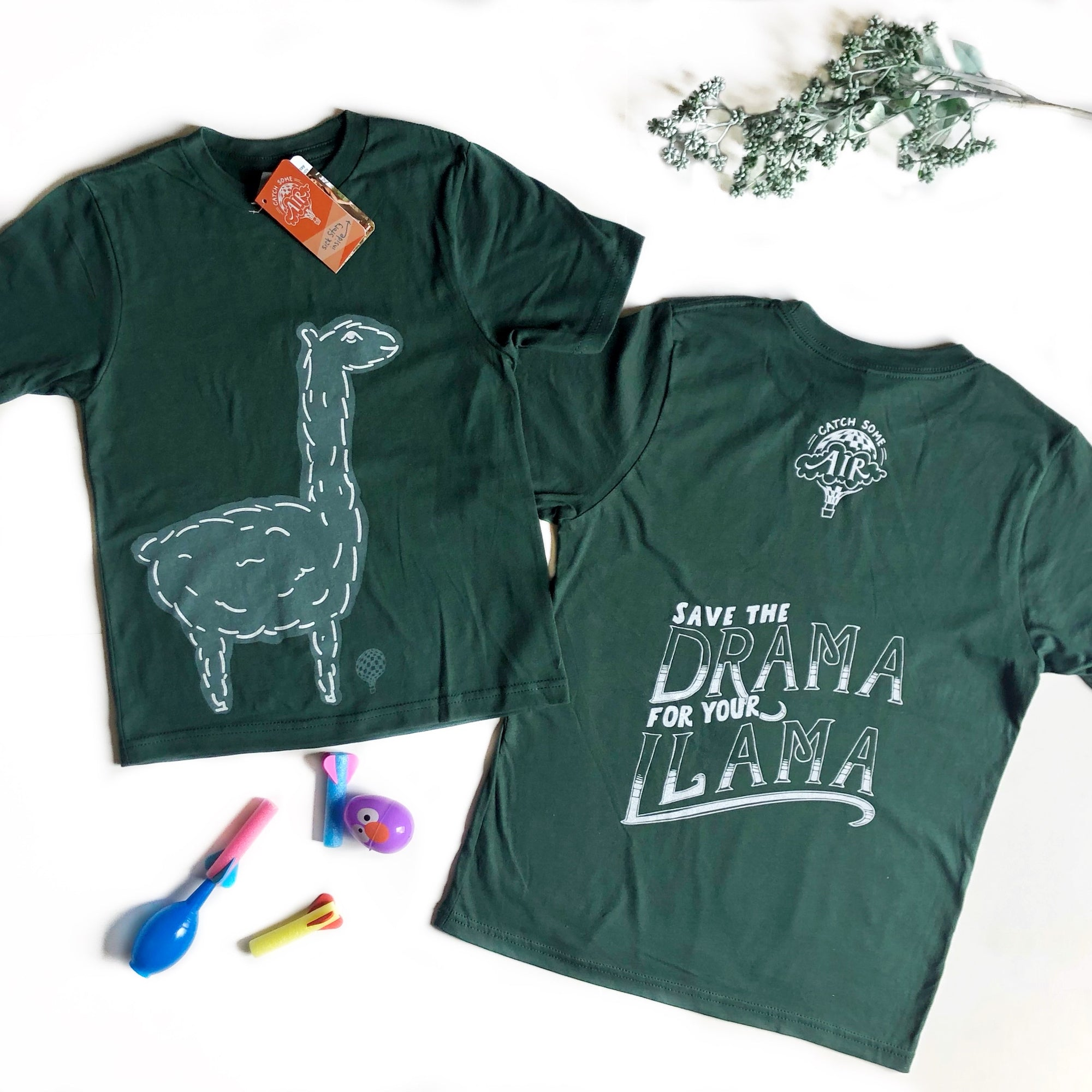 """SAVE THE DRAMA FOR YOUR LLAMA"" boys crew/forest green"