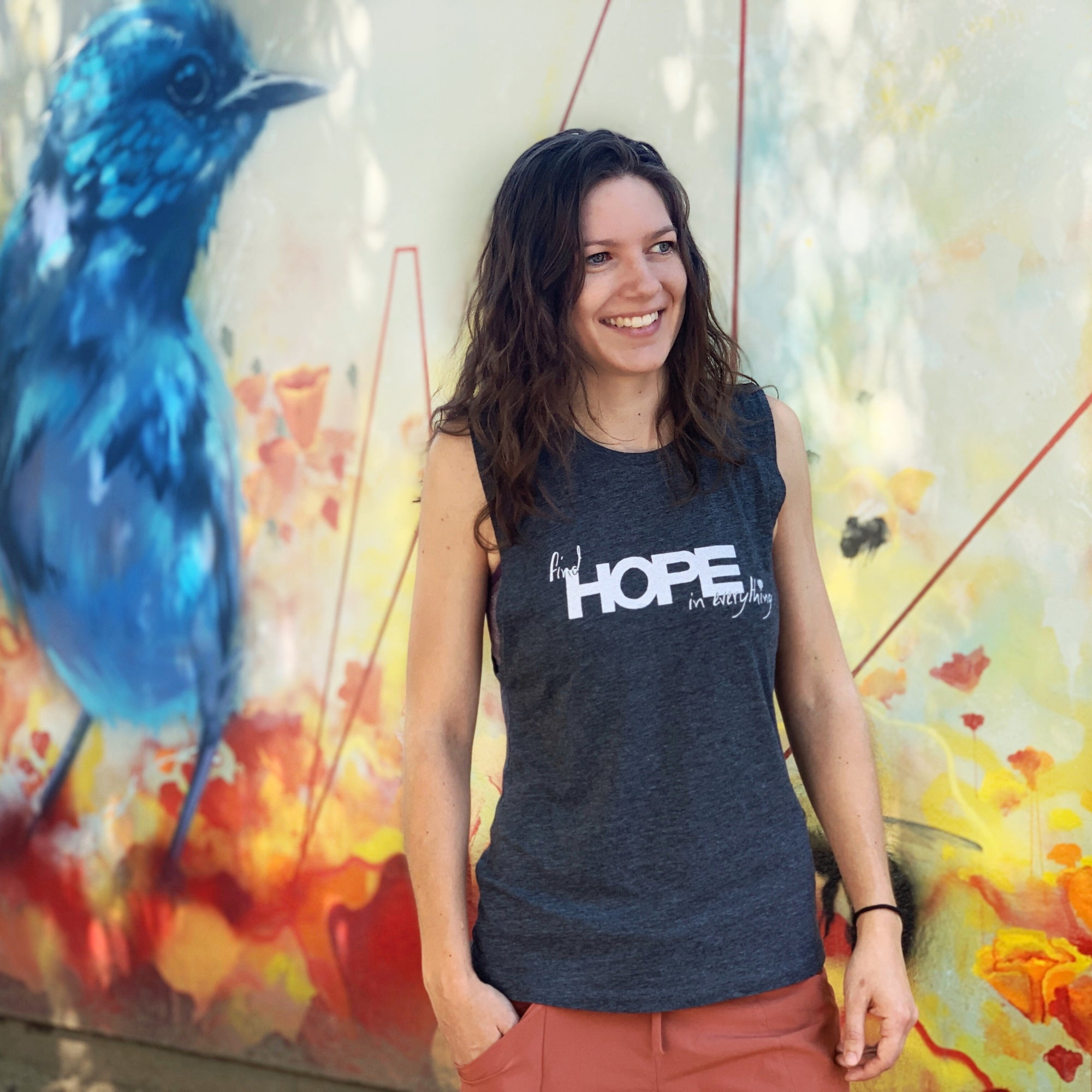 FIND HOPE in EVERYTHING | women muscle tank | charcoal