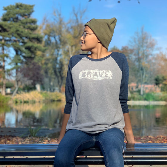 """BRAVE"" unisex navy 3/4 sleeves/gray body"