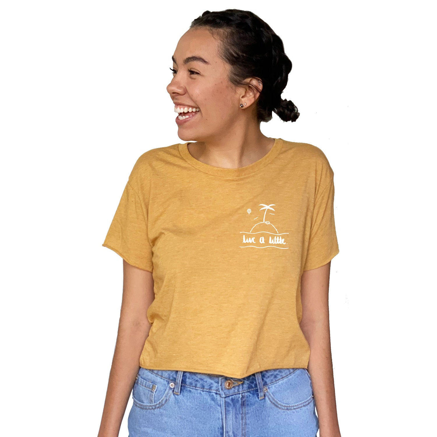 LIVE A LITTLE by #TeamMaddy | women crop top | gold