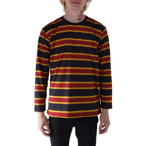 LONG SLEEVE RUGBY TOP - MAROON/GOLD