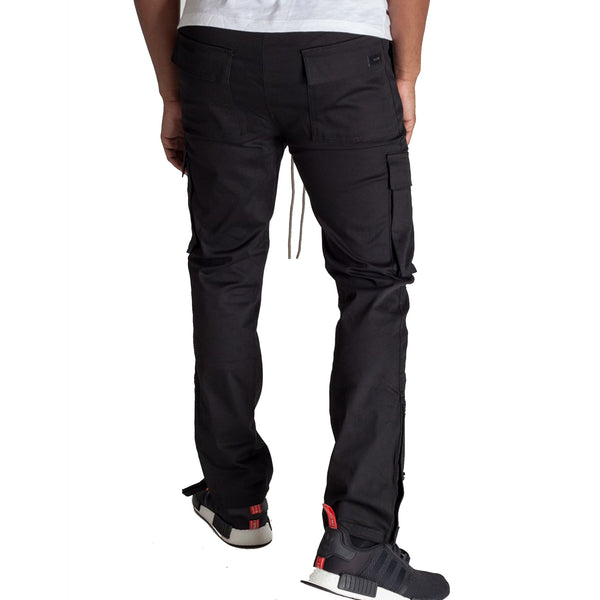 STRETCH COTTON CARGO PANTS - BLACK - www.ShopRedCar7.com