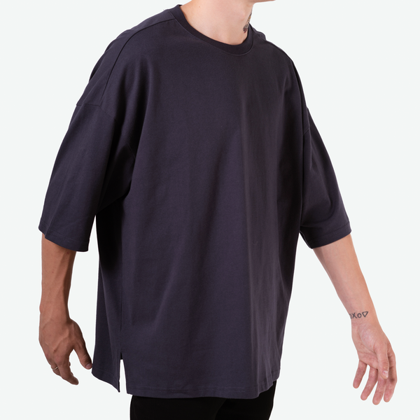 SHORT FIT STRETCH COTTON TEE - NAVY