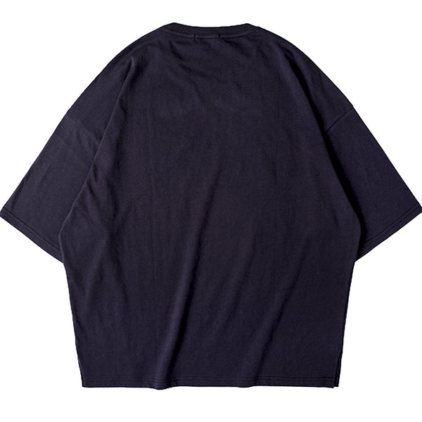 SHORT FIT STRETCH COTTON TEE - NAVY - www.ShopRedCar7.com