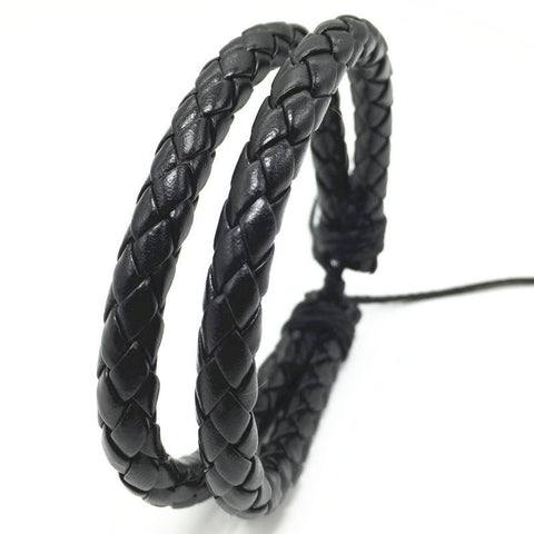 R7C Zuma Double Leather Braided Bracelet  - Accessories - www.ShopRedCar7.com