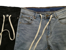 SLIM DRAWSTRING DISTRESSED JEANS - www.ShopRedCar7.com