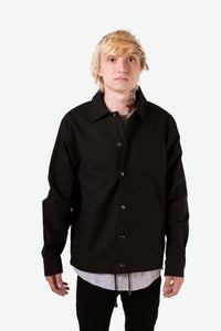 TWILL COTTON COACH JACKET - BLACK