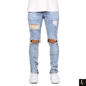 ANKLE ZIP DESTROYED SLIM JEANS - www.ShopRedCar7.com
