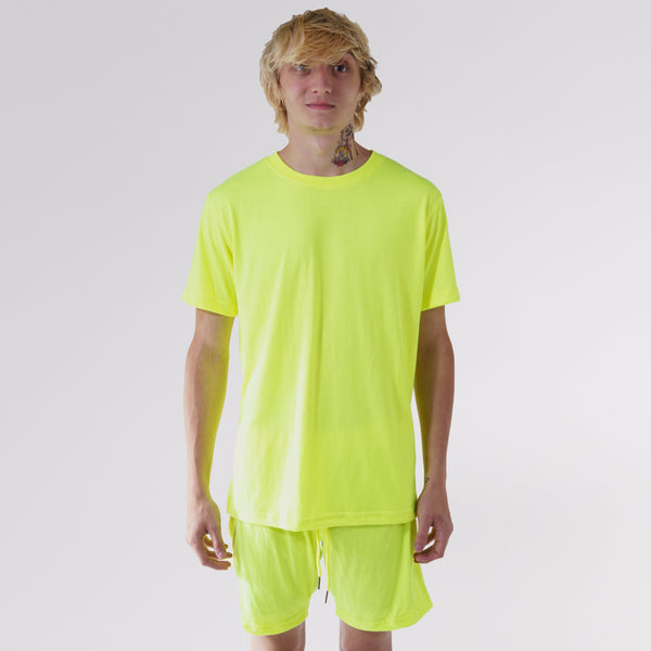 COTTON JERSEY SWEAT SHORTS - YELLOW HIGHLIGHTER