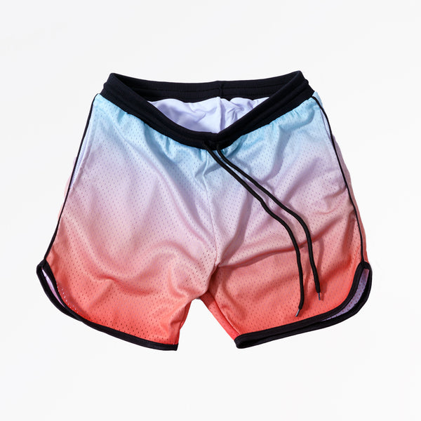 GRADIENT DYE MESH BASKETBALL SHORTS - CITRUS