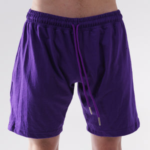 COTTON JERSEY SWEAT SHORTS - LAKERS PURPLE