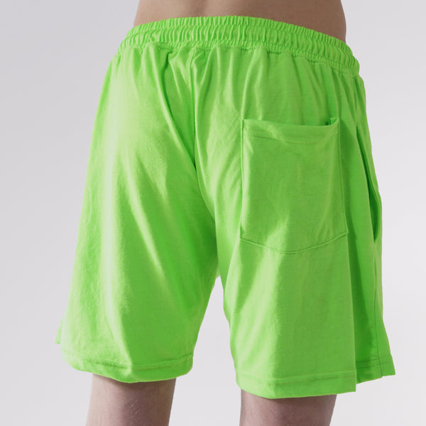 COTTON JERSEY SWEAT SHORTS - SAFETY GREEN