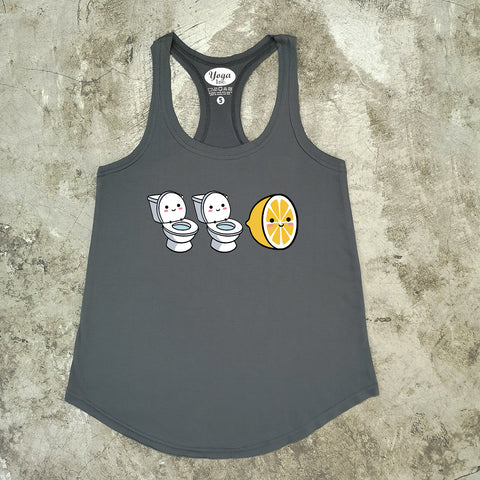 LOO LOO 柠檬 Ladies Tank Top- Dark Grey