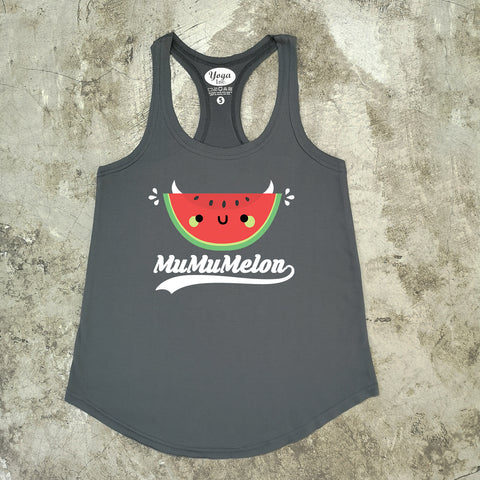 MuMu Melon Ladies Tank Top- Dark Grey