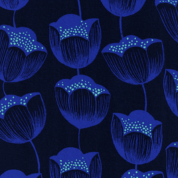 Magic Tulips in Navy (RAYON)