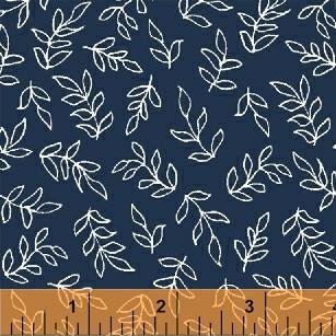 Scribble Leaves in Navy