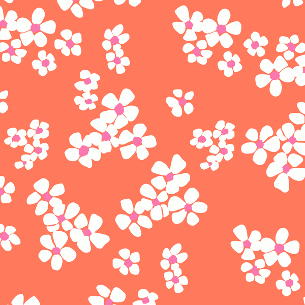 Tossed Flower in Coral
