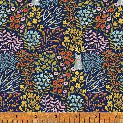 Cat in Flowers in Navy