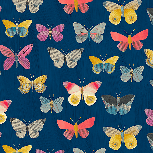 Newspaper Butterflies in Navy