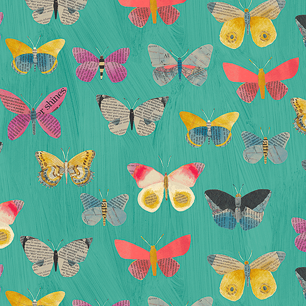 Newspaper Butterflies in Aqua