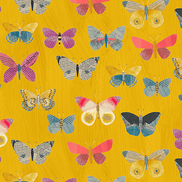 Newspaper Butterflies in Mustard