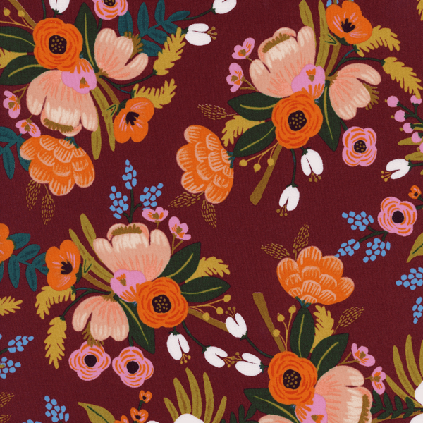 Lively Floral in Burgundy (RAYON)